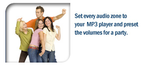 Set every audio zone to your MP3 player and preset the volumes for a party.